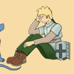 Spiky-haired dragon, worthless knight webcomic banner image